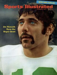 December 1968 Sports Illustrated Cover, AFL Football: Closeup of New York Jets QB Joe Namath during game vs San Diego Chargers, San Diego, CA Jets Football, Nfl Football Players, Alabama Football, Football Girls, Football Stuff, College Football, Usc Sports, School Sports, Paul Bear Bryant