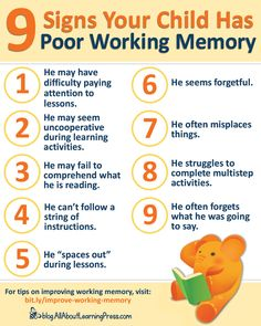 Does your child have poor working memory? Here are some signs. Click through for tips on how to improve your child's memory and make learning stick. Working Memory, What To Use, Teaching Methods, Brain Training, Adhd, Spelling, Homeschooling, Worksheets, Improve Yourself