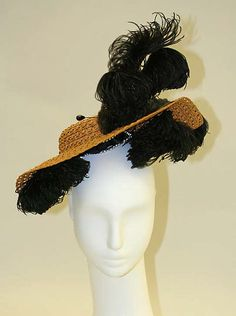 Hat Date: 1890–95 Culture: French Medium: straw, feathers, silk
