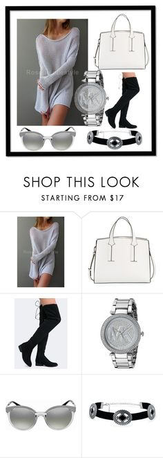 """""""Oversized / Slouchy sweater  by Roseuniquestyle."""" by roza-sadieva on Polyvore featuring French Connection, Qupid, Michael Kors, Versace, Bling Jewelry and polyvorefashion"""