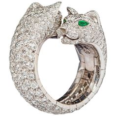 Cartier Stunning double panther emerald diamond gold ring For Sale Green Diamond Rings, Green Emerald Ring, Emerald Diamond, Yellow Gold Rings, White Gold, Cartier Jewelry, Emerald Jewelry, Jewelry Rings, Gold Jewellery