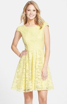 Betsey Johnson Lace Fit & Flare Dress available at Fit N Flare Dress, Fit And Flare, Nordstrom Half Yearly Sale, 2015 Fashion Trends, Fashion Tv, Yellow Fashion, Nordstrom Dresses, Chic Outfits, Pretty Dresses