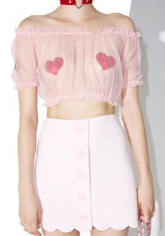 one spo Candy Scalloped Trapezoid Skirt is perfect fer traipsing around in the enchanted forest, bb~ This adorable mini skirt features a…