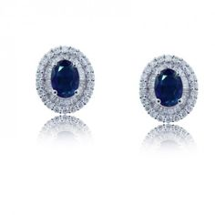Double Halo Oval Shaped Sapphires and Diamond EarRing S set in 18KT White Gold…