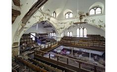 """The abandoned East Methodist Church in Detroit, MI. Note the interesting quote, """"And Thou Shall Say God Did It."""""""