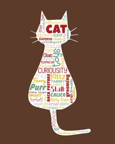 """Original artwork using words to describe """"CATS"""" -- Dress up your home with this fun print that details the many words for your furry friends.  Come visit the Lexicon Delight Etsy store!"""