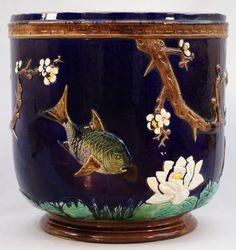 "HOLDCROFT majolica cobalt pond motif jardiniere, 12"""