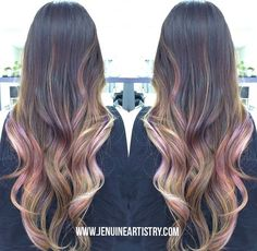 2016 -  34. Party Surprise Are those pink ribbons in your hair? Nope, it's your pink balayage. At least, you will look like loads of fun wherever you go. What's best about this look is that even if you already have a classic dark and light brown ombre, you can spice it up with another pastel color, pink in this case. Now, it's time to bring in the cake!