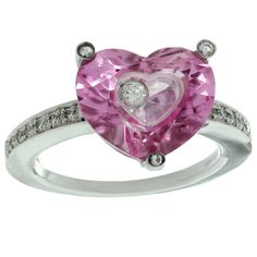 CHOPARD Happy Diamond Heart Pink Quartz White Gold Ring | From a unique collection of vintage more rings at https://www.1stdibs.com/jewelry/rings/more-rings/
