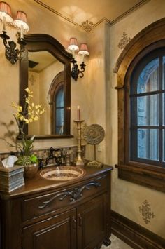 stencils on walls--traditional powder room by Locati Architects