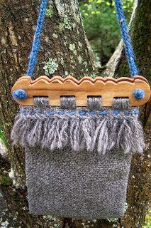 Hedeby bag made by Thatshim Indunna. Handles made with golden elm, fabric hand-woven with Gotland wool