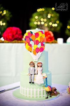 "Awesome wedding cake with a theme of the Pixar movie ""Up""!"