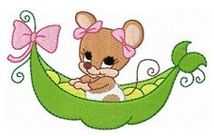 This set includes 10 sweet pea mice designs. Towel Embroidery, Embroidery Applique, Machine Embroidery Designs, Embroidery Ideas, Baby Girl Scrapbook, Baby Design, Pet Birds, 4x4, Hello Kitty