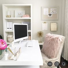 Every female creative deserves a beautiful and inspiring home office. Designed with the creative soul at heart, this office speaks to my need to see pretty things while I work, so I can do my best work. Airy, chic, and feminine; all of my favourite things.>> home office, pretty home office, feminine home office, white home office, blush, gold home office, female entrepreneur, home office ideas, Kate Spade Office Accessories. #homeofficeideas #homeofficeideaspretty