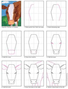Cow Face Drawing · Art Projects for Kids. PDF tutorial available. various drawing Draw a Cow Face · Art Projects for Kids Cow Drawing Easy, Drawing For Kids, Easy Drawings, Drawing Art, Art Lessons For Kids, Projects For Kids, Art Projects, Human Face Drawing, Drawing Faces