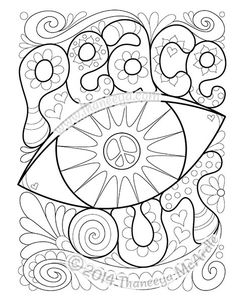 Peace Out Coloring Page by Thaneeya McArdle – Guirlanda de Flores Love Coloring Pages, Printable Adult Coloring Pages, Coloring Books, Free Coloring, Coloring Sheets, Printable Christmas Coloring Pages, Art Graphique, To Color, Mandala Coloring