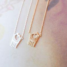 Love giraffes necklace in gold or silver heart by applelatte, $11.80