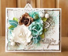 Color Fun! Gorgeous white, aqua and brown on a white background make a stunning card (view 1) by Olga for Prima blog