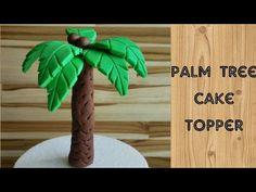 How to make a cake topper palm tree Safari Birthday Cakes, Dinosaur Birthday Cakes, Safari Cakes, Dinosaur Cake, Fondant Tree, Fondant Cake Toppers, Fondant Flowers, Fondant Figures, Palm Tree Cakes