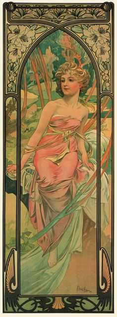 Alphonse Mucha The Times Of Day Morning Awakening, , . Read more about the symbolism and interpretation of The Times Of Day Morning Awakening by Alphonse Mucha. Art Nouveau Pintura, Art Nouveau Mucha, Alphonse Mucha Art, Art Nouveau Poster, Illustration Photo, Illustration Art Nouveau, Art Deco, Jugendstil Design, Kunst Poster