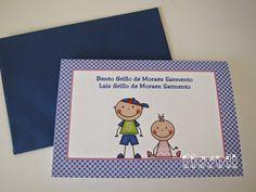 Cartão duplo para irmãos  :: flavoli.net - Papelaria Personalizada :: Contato: (21) 98-836-0113 vendas@flavoli.net