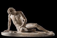 O gálata à morte ou O galata morrendo, século I ou II EC, Atribuida a Epígonus de Pérgamo (ativo no séc. III aEC),Cópia romana de escultura grega,Mármore,Superintendência Capitolina, Museus Capitolinos, Roma