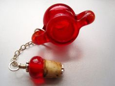 Unique Red Blown Glass Keepsake Fairy Vessel by HorkoverGlass