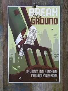 Break New Ground poster art by joeseppi on Etsy, $14.00