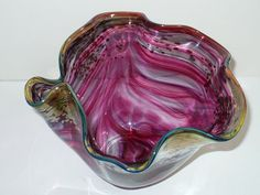 Glass Bowl Red Swirl Signed Jeff Price No.280 by designfinder, $34.50