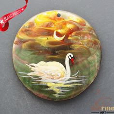 HAND PAINTED SWAN NATURAL MOP MOTHER OF PEARL SHELL  NECKLACE PENDANT ZL3005855 #ZL #PENDANT