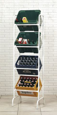 Conveniently store your crates with this stacking rack for 4 crates from Practo. - Conveniently store your crates with this stacking rack for 4 crates from Practo. Pvc Projects, Outdoor Projects, Man Cave Shed, Best Barns, Disney Home, Diy Garage, Organization Hacks, Wine Rack, Crates