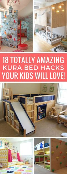 KURA Bed Hacks to Turn a Boring Bed into Something Special! Wow - I never knew you could make a Kura bed look so awesome! These hacks are brilliant!Wow - I never knew you could make a Kura bed look so awesome! These hacks are brilliant! Kura Bed Hack, Ikea Kura Hack, Ikea Hacks, Ikea Hack Lit, Baby Zimmer Ikea, Murphy Bed Ikea, Ideas Hogar, Kids Bunk Beds, Ikea Beds For Kids