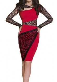 a434ea8d54b Floral Lace Long Sleeves Fitted Bodycon Dress Sexy Summer Dresses