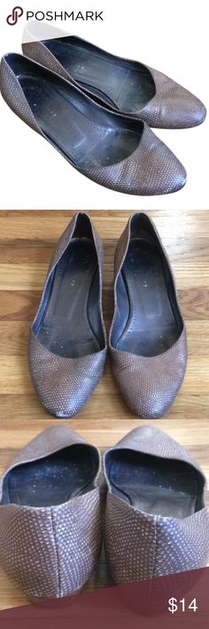 Theory Bronze Metallic Snakeskin Leather Flats Great stylish staples for your closet. These have been well loved ❤️❤️ They have some exterior scuff marks but they are not very noticeable because of the snakeskin print. Please see pictures for condition. These are great, chic, and comfortable! I don't see the size inside but they fit like an 8.5 Theory Shoes Flats & Loafers