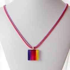 Rainbow Jewelry Glass Tile Pendant Necklace by teapartypendants