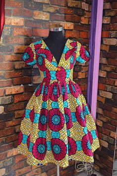 Nuju African short dress, knee length, african clothing, african dress, the… African Print Skirt, African Print Dresses, African Print Fashion, Africa Fashion, African Fashion Dresses, African Fabric, African Dress, African Outfits, African Attire