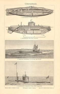 1908 Vintage Print of Submarines American by CabinetOfTreasures