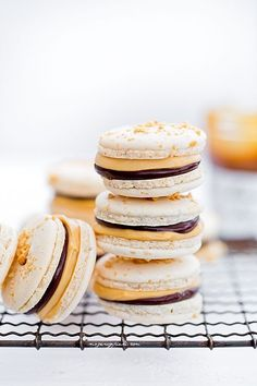 snickers macarons with cream caramel and chocOlate ganache