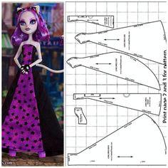 Obraz znaleziony dla: Free Printable Monster High Doll Clothes Patterns