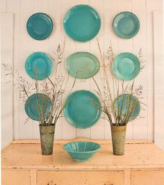 Plate wall - love these colors