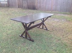 Check out this item in my Etsy shop https://www.etsy.com/listing/213774486/rectangular-wood-dining-table-with-x