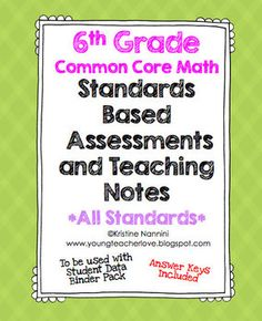 These sixth grade math assessments are great pre- and post-assessments to truly assess your students on the rigor of the Common Core Math Standards. They are organized, easy to implement, and have teaching notes that break the standards down into easy to understand language.The Teaching Notes:Every individual standard comes with teaching notes that break the standard down into three levels of learning/understanding.
