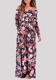 ae378a9fda793 Purple Floral Print Draped Off Shoulder Backless Maternity Maxi Dress. Pregnancy  Fashion WinterSummer Maternity FashionPregnancy OutfitsMaternity ...