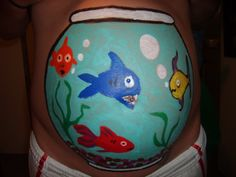 fishbowl painted pregnant belly using our easy pregnancy belly painting kit. Click here for more info.