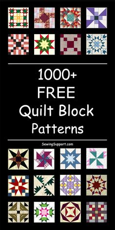 Over 1000 Free Quilt Block Patterns & templates. Classic, traditional, and modern designs. Simple and easy blocks for beginners. 12 inch, 10 inch and other sizes. Quilt Block Patterns 12 Inch, Quilt Blocks Easy, Quilt Square Patterns, Modern Quilt Blocks, Barn Quilt Patterns, Easy Quilts, Square Quilt, Pattern Blocks, Quilting Patterns