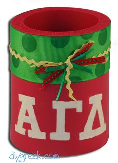 cute craft ~ Alpha Gamma Delta Drink Holder.  DIYGreek.com makes it easy with the Supply Sack to create this cute gift for your sister.
