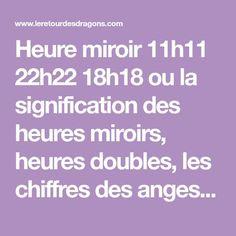 Heure miroir 11h11 22h22 18h18 ou la signification des heures miroirs, heures doubles, les chiffres des anges dans les heures jumelles, numérologie sacrée.