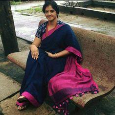 Adorable premium quality pure linen sarees with blouse piece Soft Silk Sarees, Cotton Saree, Cotton Blouses, Ethnic Fashion, Indian Fashion, Bridal Sari, Elegant Fashion Wear, Stylish Sarees, Casual Saree