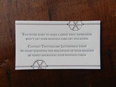 Letterpress Business Card Promo by Typothecary Letterpress
