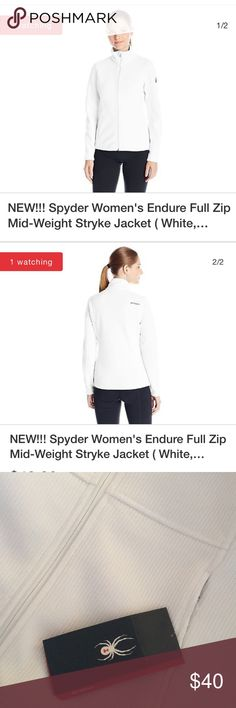 Spyder Ensure Full zip mid WT Stryke jacket Product: Spyder Women's Endure Full Zip Mid-Weight Stryke Jacket. Polyester Mid-Weight sweater knit bonded to anti-pill fleece. Machine Wash : Yes. Size: Medium. Color: White.  Sizes variety Spyder Jackets & Coats Utility Jackets